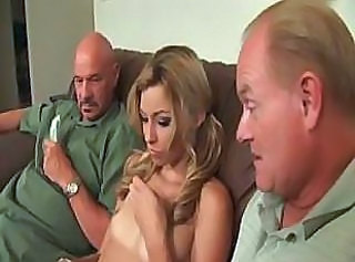 Teen babe takes on two older cocks and sucks and fucks for cash