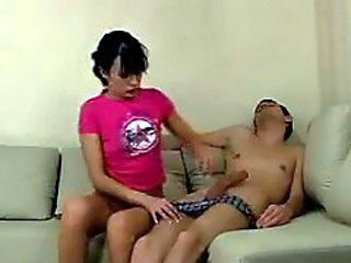 Sexy teen fucks sleeping guy with big fat cock