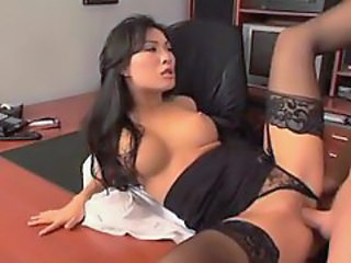 Shaved pussy sex in the office