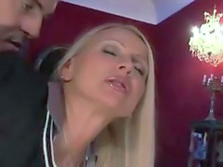 Blond Madame Fulfilled Her Fantasy While Husband Watches