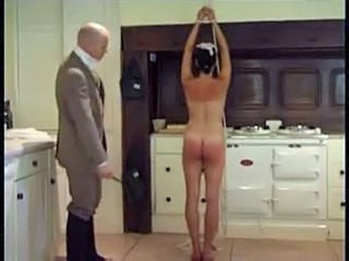 Brunette maid gets spanked