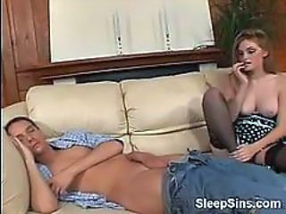 Faye enjoys getting fucked by her sleeping man