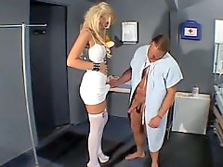 Voluptuous nurse sucks dick of a patient and smokes