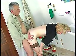 Teen in a sexy dress takes old man cock