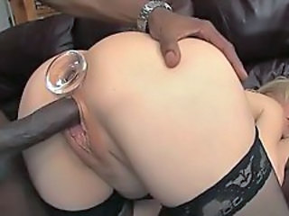 Nina Heartley plugs her ass while her pussy is pumped with a big black dick