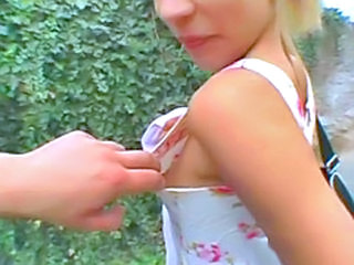 Teen sucks and fucks a cock outdoor!