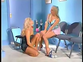 Blonde lesbian gets licked and fingered