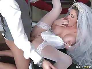 Stunning bride Kayla Paige gets her tight wet pussy stuffed with stiff hard cock