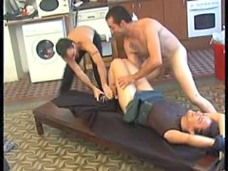 Horny brunette raped by 2 dudes