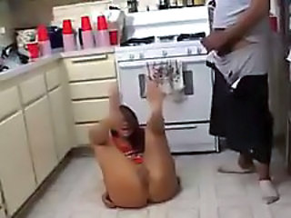 Drunk Kitchen MILF Wife