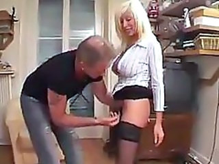 Amateur Blonde French Mature Mom Skirt Stockings Young