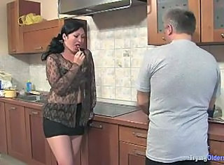 Brunette Chubby Kitchen Mature MILF Old and Young Young