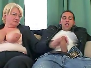 Drunk granny having fun with two guys