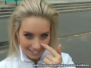 Blonde Cute Extreme Outdoor Public