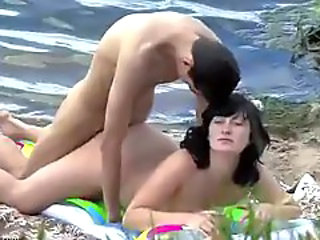 Amazing Beach Big Tits Brunette Chubby Doggystyle Voyeur