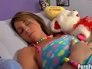 Sleeping teen fucked with teddy bear
