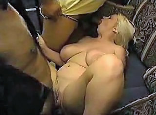 Busty blonde interracial banged