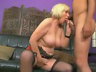 Blonde Granny in Stockings Fucks and Spreads