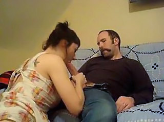 Pretty brunette in pigtails blows before sex
