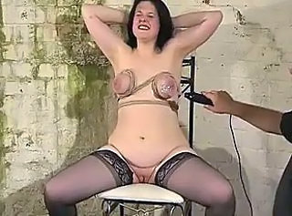 Extreme breast bondage and electro pain for busty slavegirl Emma