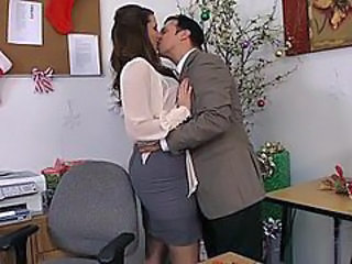 Babe British Brunette Kissing Office