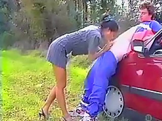 Asian Fucked In The Ass On The Car