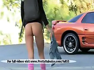 Nice pussy masturbating sports car