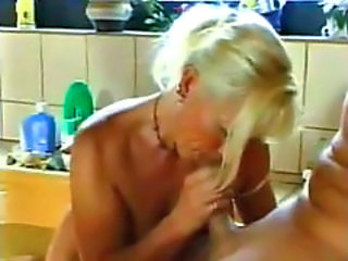 Bathroom Blonde Blowjob German Mature Mom