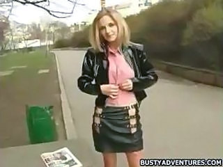 Amazing Blonde Outdoor Public Skirt Teen Young