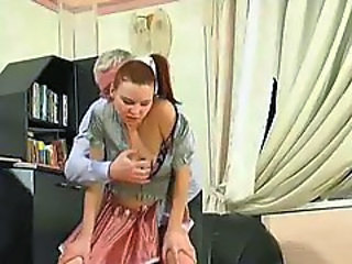 Hottie in a short skirt takes old mans cock
