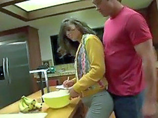 Thick cock fucking her asshole in the kitchen