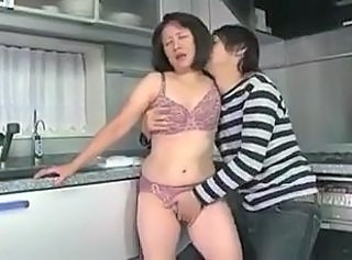 Asian Japanese Kitchen Lingerie Mature Mom