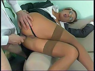 Anal Babe Clothed Glasses Stockings