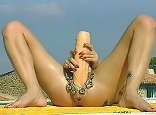 Opearl dildo by pool