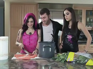 Amazing Brunette Kitchen Threesome