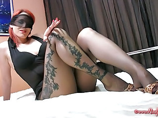 Pantyhose Tease on Bed
