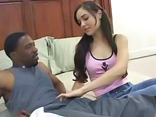 Sasha Grey gobbles down a large black cock before fucking it