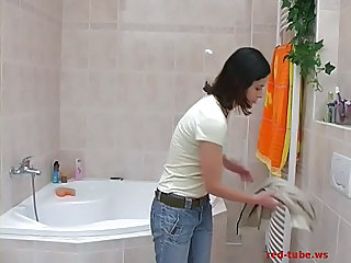 Darkhaired Teen With Perky Tits Take A Shower