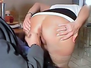 Horny mature with short hair has anal sex
