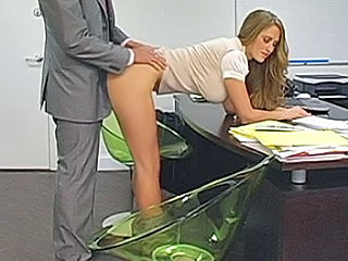Blonde secretary bent over her...