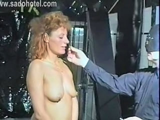 Milf slave got large needles in...