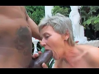 Grey Haired Granny Outdoor Suck...