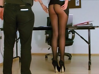 Secretary pantyhose exposed....