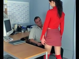 Petite secretary fucking in knee...