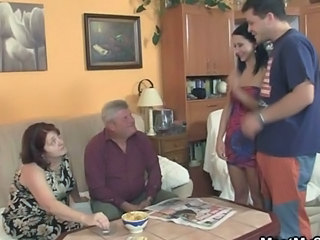 Cute European Family Girlfriend Old and Young Swingers