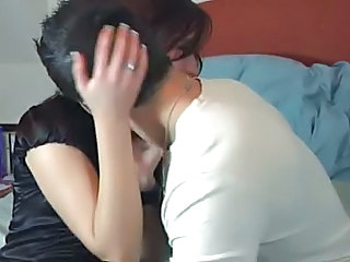 Brunette Homemade Kissing