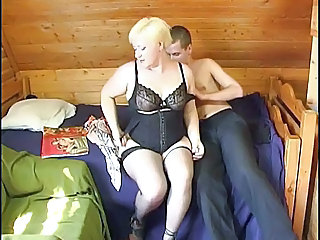 BBW Blonde Lingerie Mature Russian Stockings
