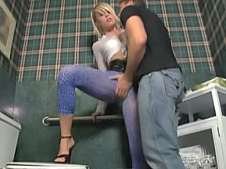Amazing Blonde Feet Legs Toilet