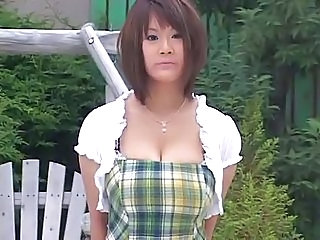 Amazing Asian Big Tits Brunette Bus Outdoor