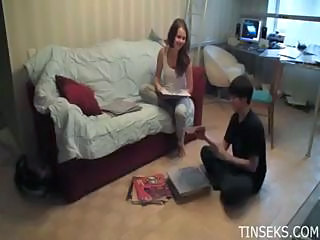 Lucky Nerd Invites A Real Little Nympho Into His Dorm Room And Does He...